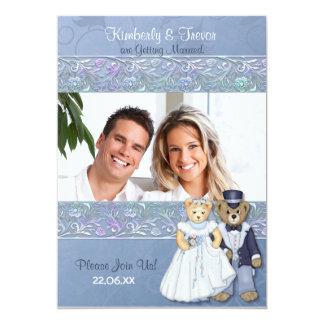 Bride and Groom Teddy Bears Wedding Card