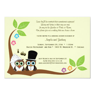 Bride And Groom Tree Owls Wedding Shower Invite