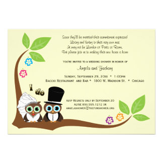 Bride And Groom Tree Owls Wedding Shower Invite