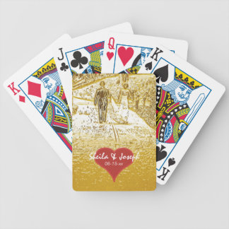 Bride and Groom Walking Wedding Playing Cards