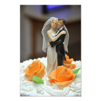 Bride and groom wedding cake topper photographic print