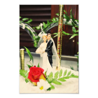 Bride and groom wedding cake topper photo art