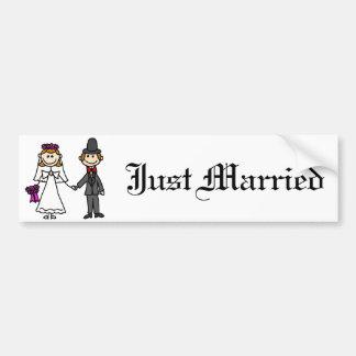 Bride and Groom Wedding Cartoon Bumper Sticker