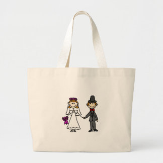 Bride and Groom Wedding Cartoon Large Tote Bag