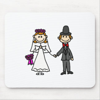 Bride and Groom Wedding Cartoon Mouse Pad