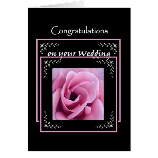 BRIDE and GROOM Wedding Congratulations  Pink Rose Greeting Card