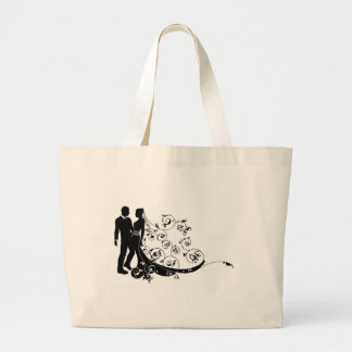 Bride and groom wedding couple silhouette tote bag