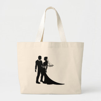 Bride and groom wedding couple silhouette tote bags