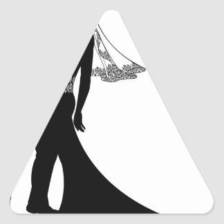 Bride and groom wedding couple silhouette triangle stickers