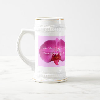 Bride and Groom Wedding Date Stein Pink Orchid Mugs