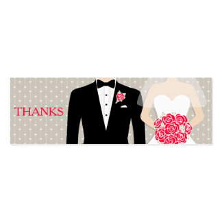 Bride and groom wedding free drink voucher card mini business card