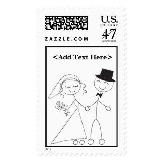 Bride and Groom Wedding Invitation Postage Stamp