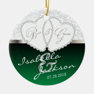 Bride and Groom Wedding Keepsake - Green Ceramic Ornament