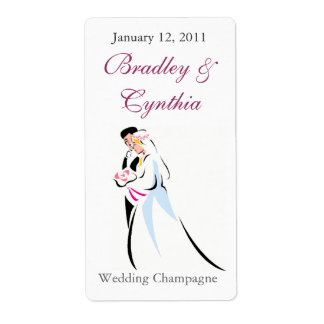 Bride and Groom Wedding Mini Wine Labels