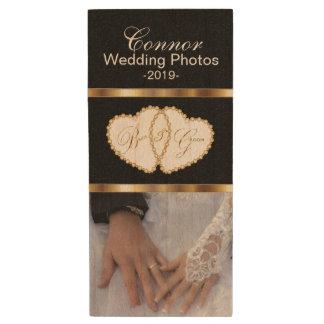 Bride and Groom Wedding Photos Wood Flash Drive