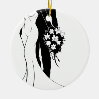 Bride and Groom Wedding Silhouette Couple Ceramic Ornament