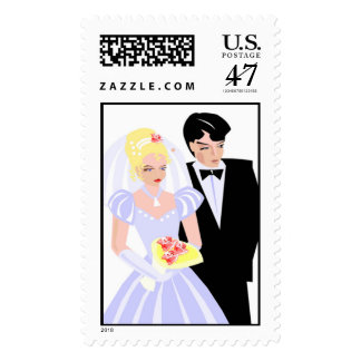 Bride and Groom Wedding Stamps