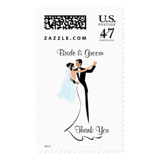 Bride and Groom Wedding Thank You Postage Stamp