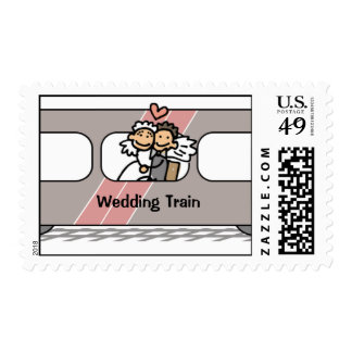 Bride And Groom Wedding Train Celebration Stamps