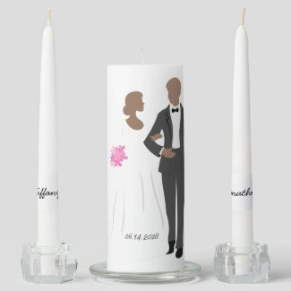 Bride and Groom Wedding Unity Candle Set