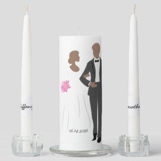Bride and Groom Wedding Unity Candle Set