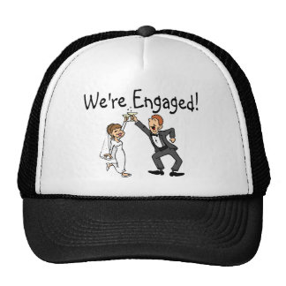 Bride and Groom We're Engaged Toast Hat