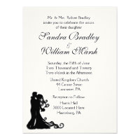 Bride and Groom White 6.5x8.75 Paper Invitation Card