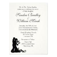 Bride and Groom White 6.5x8.75 Paper Invitation Card