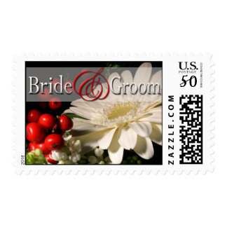 Bride And Groom Winter Wedding Postage Stamp