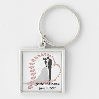 Bride and Groom with Hearts Keychains