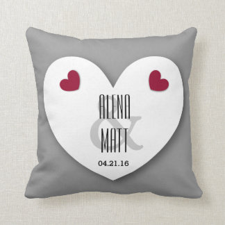 Bride and Groom with Hearts Wedding V03 SILVER Pillow