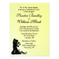 Bride and Groom Yellow 6.5x8.75 Paper Invitation Card