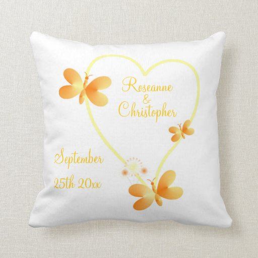 Bride And Groom Yellow Heart Pillow