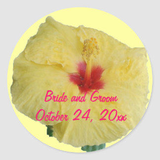 Bride and Groom Yellow Hibiscus Classic Round Sticker