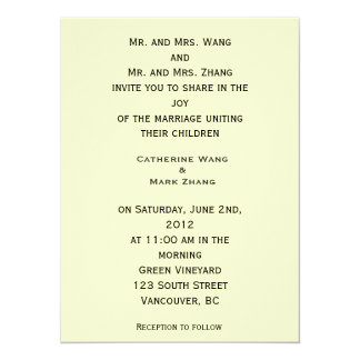 Bride and groom's parents invitation