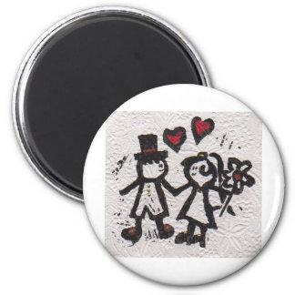 Bride and Grrom 2 2 Inch Round Magnet