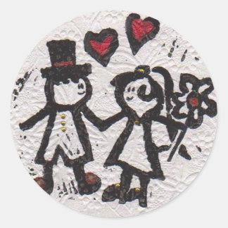 Bride and Grrom 2 Classic Round Sticker