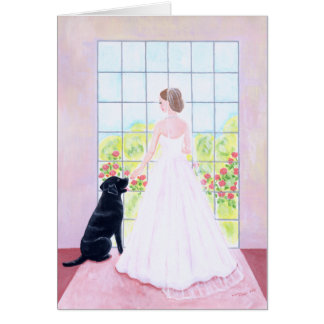 Bride and her Black Labrador Painting Card