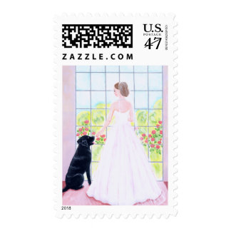 Bride and her Black Labrador Painting Postage