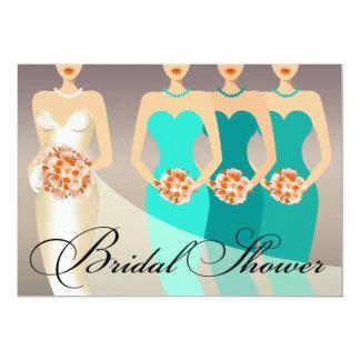 Bride and her Brdesmaids Bridal Shower | teal Card