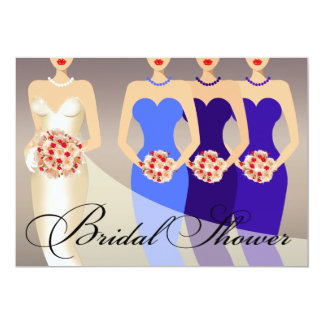 Bride and her Bridesmaids Bridal Shower | cobalt Card