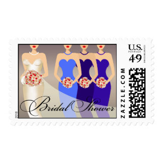 Bride and her Bridesmaids Bridal Shower | cobalt Postage