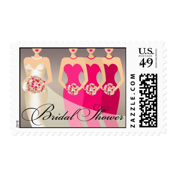 Bride and her Bridesmaids Bridal Shower | fuschia Postage
