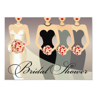 Bride and her Bridesmaids Bridal Shower | gray Card
