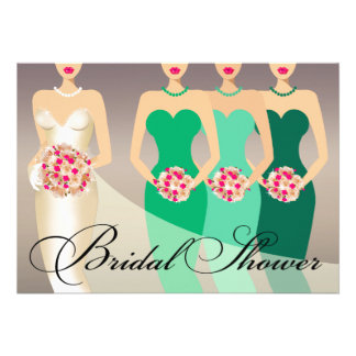 Bride and her Bridesmaids Bridal Shower green Announcement