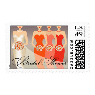 Bride and her Bridesmaids Bridal Shower | orange Postage