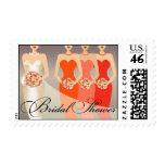 Bride and her Bridesmaids Bridal Shower   orange Postage Stamps