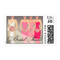 Bride and her Bridesmaids Bridal Shower   pink Postage