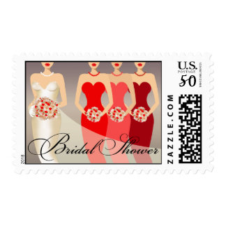 Bride and her Bridesmaids Bridal Shower | red Postage