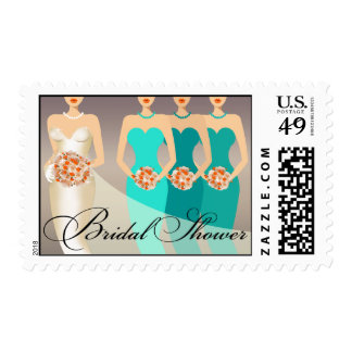 Bride and her Bridesmaids Bridal Shower | teal Postage